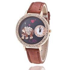 Fashion Leather Band Delicate Rhinestone Elephant Women's Quartz Watch LC507 Brown
