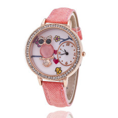 Fashion Leather Band Delicate Rhinestone Owl Flower Women's Quartz Watch LC511 Pink