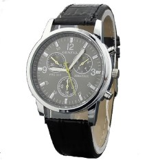 Fashion Men Leather Strap Wristwatches Three Six-pin Male Belt Casual Fashion Alloy Quartz Watch Black (Intl)