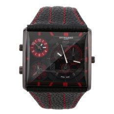 Fashion Men's Dual Time Zone Movement Square Shape Quartz Watch Gift New Red (Intl)