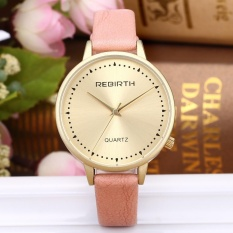 Fashion Neutral Leisure Simple Leather Quartz Wrist Watch OR - intl
