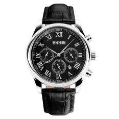 Fashion New Design Men's Six Eyes Leather Strap Quartz Wrist Watches-Black + Black Face (9078)
