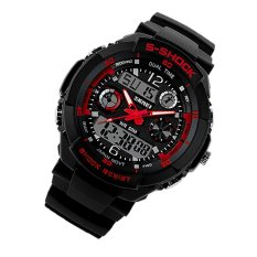 Fashion Sports Brand Watch Men's Digital Water Resistant Quartz Alarm Wristwatches Outdoor Military LED Casual Watches Red (Intl)