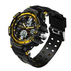 Fashion Watch Men G Style Waterproof LED Sports Military Watches Shock Men's Analog Quartz Digital Watch (Golden)