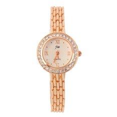 Fashion Watch With Golden Watchband Round Dial Imitation Diamond Quarts Watch Golden- Intl