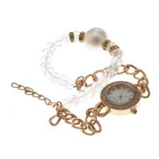 Fashion Women Diamond Wristwatch White (Intl)