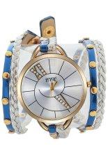 Fashion Women's Blue Winding Paux Leather Strap Quartz Bracelet Watches 60gs0456