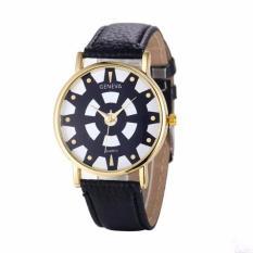 Fashion Women's Date Geneva Stainless Steel Leather Analog Quartz Wrist Watch Black Free Shipping