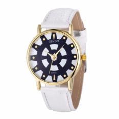 Fashion Women's Date Geneva Stainless Steel Leather Analog Quartz Wrist Watch White Free Shipping