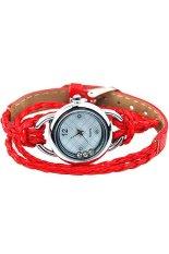 Fashion Women's Red Faux Leather Strap Bracelet Watch 60bl030