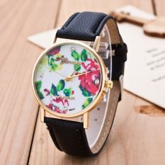 Fashion Women's Vintage Platinum Floral Rose Quartz Wrist Watch Leather with Rhinestones Watch (Gray)