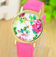 Fashion Women's Vintage Platinum Floral Rose Quartz Wrist Watch Leather with Rhinestones Watch (Light Blue)