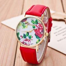 Fashion Women's Vintage Platinum Floral Rose Quartz Wrist Watch Leather with Rhinestones Watch (Red)