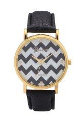 Fashion World New Popular Wave Patterns Design Leather Strap Quartz Watch (Purple) (Intl)