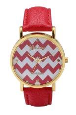 Fashion World New Popular Wave Patterns Design Leather Strap Quartz Watch (Yellow) (Intl)