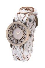 Fashion World New Popular Wave Patterns Design Leather Strap Quartz Watch (Beige) (Intl)