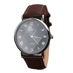 Faux Leather Water Proof Quartz Analog Watch Wrist Watch For Couples Lovers Black Dial with Brown Strap Male Style Big Dial