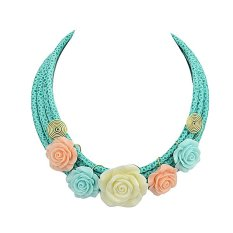 Feelontop Colorful Flower PU Leather Chain Necklace For Woman (Intl)