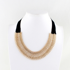 Feelontop New Style Black Silk Ribbon Gold Color Plated Chain Necklace (Intl)
