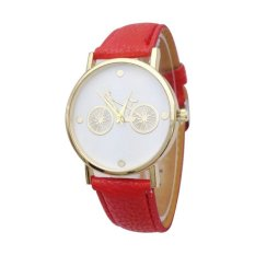 Female Watch New Bicycle Printed Watch with Faux Leather Strap Girls Students Quartz Wrist Watches (Yellow) (Intl)