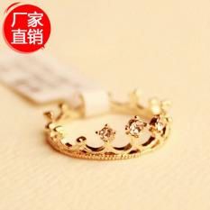 Flash Bor Mahkota Cincin Pernikahan Vintage Aksesoris Perhiasan Emas