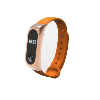 For XIAO MI Band 2 Wristband Metal Leather Strap Belt Replacement Metal Frame Leather Bracelet MiBand 2 Dark orange - intl