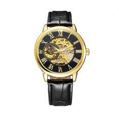FORSINING Professional See-through Skeleton Hand-winding Mechanical Watch PU Leather Watchband Business Analog Man Wristwatch - Intl