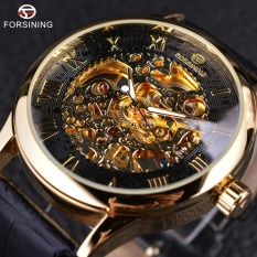 Forsining Retro Classic Design Roman Number Display Transparent Case Mechanical Skeleton Men Watch - Intl