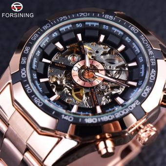 Forsining Rose Gold Fashion Designer Transparent Case Men Watch Luxury Mechanical Automatic Skeleton Watch Clock - intl