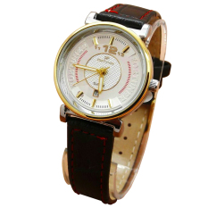 Fortuner Analog Jam Tangan Wanita - Leather Strap - Hitam Plat Putih - FR 2831