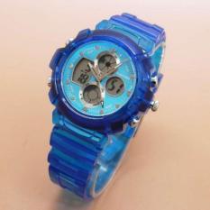 Fortuner Original FR J-540BS Jam Tangan Sport Rubber Strap Transparent Dual Time