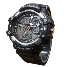 Fortuner Sport Dual Time - Jam Tangan Pria - Rubber - AD1602BW - Hitam