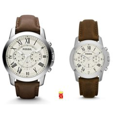 Fossil Jam Tangan Couple FS4735-4839 Grant Chronograph Dial Brown Leather Couple Watch
