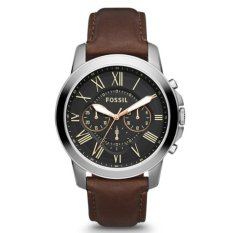 Fossil Jam Tangan Pria Fossil FS4813 Grant Chronograph Brown Leather Watch