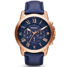 fossil jam tangan pria fs4835 grant chronograph navy leather watch