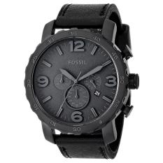 Fossil Watch Nate Chronograph Black Stainless-Steel Case Leather Strap Mens NWT + Warranty JR1354