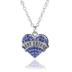 Friendship Fashion Jewelry Gift For Women Chain Link Silver Alloy Blue Rhinestone Crystal Love Heart Best Friend Charm Pendant Necklace (Intl)