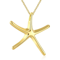Fulemay K Gold New Design Pendant Five-pointed Star Shape Necklace AKN041