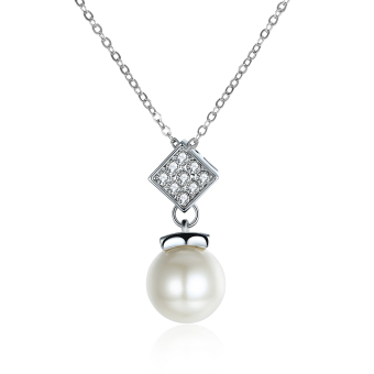 Fulemay Pearl Jewelry Silver Gold Plated Crystal Necklace Earrings Elegant Wedding Jewelry Necklace For Women AKN078