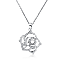 Fulemay Wholesale Asian Classical Style Jewelry Rhodium Plated Hollow Chinese Flower Pendant 925 Sterling Silver Flower Necklace SPCN847