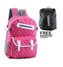 Garsel Tas Ransel Sekolah Perempuan - Pink - Plus Gratis Rain Cover Pelindung Hujan