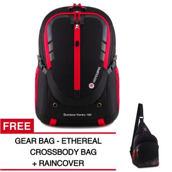 Gear Bag - Rebellion K2-SO Tas Laptop Backpack - Black Red + Raincover + FREE Gear Bag - Ethereals Crossbody
