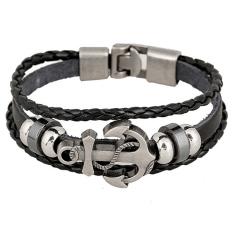 Gemerincing logam baja unisex vintage anchor peselancar paku gelang borgol kulit (#10)