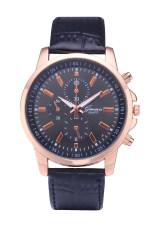 Geneva 3888 Brand Leather Watch Quartz Dress 3 Eyes Casual Watch (Black) (Intl)