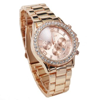 Geneva Date Quartz Wrist Watch Female Luxury Crystal Lady LadiesWatch Rose Gold