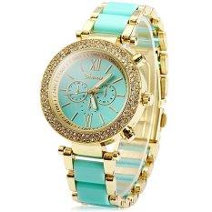 Geneva Diamond Bezel Unisex Quartz Steel Band Watch (Blue) - intl