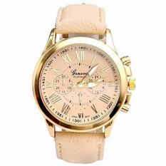 Geneva Jam Tangan Analog Wanita Strap Kulit Sintetis Woman Leather Watch 9298 - Gold