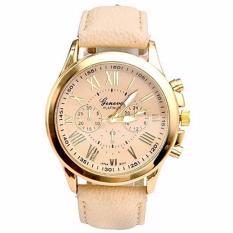 Geneva Jam Tangan Analog Wanita Strap Kulit Sintetis Woman Leather Watch 9298 - Gold