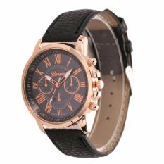 Geneva Jam Tangan Roman Numerals Korean Style Faux Leather Cewe Watch - HITAM
