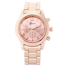 GENEVA Jam Tangan Wanita Analog Fashion Casual Women Strap Stainless Steel Wrist Quartz Watch - Rose Gold